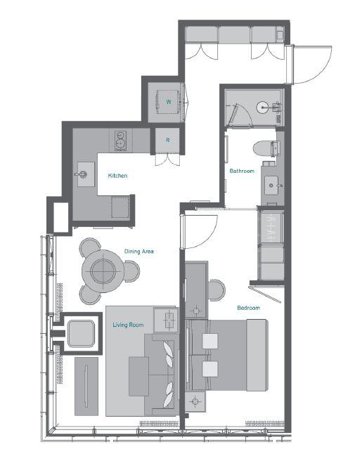 Oakwood premier tokyo 1bedroom superior tokyo serviced for Japanese apartment floor plan